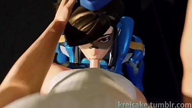 Tracer Cute Seductive Teen Sucking Dick in a Plane