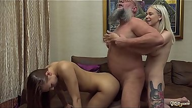 Stepsister passionate cum licking with young best friend after fucking their old sugar daddy