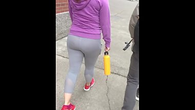 Beautiful Asian Girl Walks to The Gym In See Through Leggings