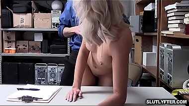 Shoplifter bends over and her pussy fucked doggy
