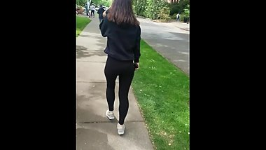 Shy White Teen Knows Im Filming Her See Through Leggings