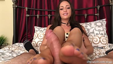 Caught staring at Cleo stockings footjob