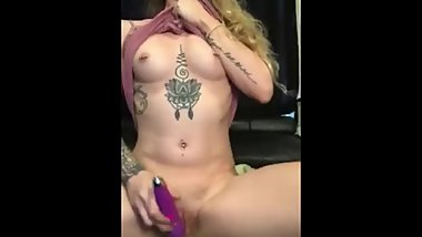 TINY Petite Blonde Cums with Vibrator Wand at Home Luna Lavendre