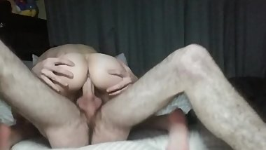 Petite girlfriend takes big dick after a long day at work
