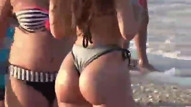 Perfect ass babe on the beach