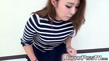 Japanese teen peeing until the whole floor is wet