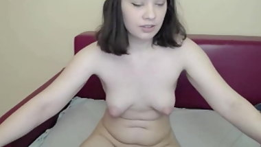 Teen with perky tits shows me her hairy pussy