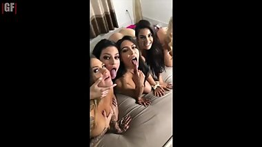 Her Fan Gets A BJ From Her Sister  Lana & Crew