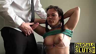Kloe White is tied to the ceiling and fucked while standing