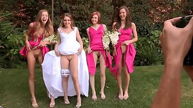 Bride and bridesmaids display their cunts