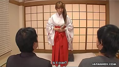 Japanese shrine maiden, Yui Misaki had an unplanned threesome, uncensored
