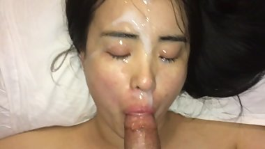 Hot chinese model receives best facial ever in slow motion- ASIAN POV BJ