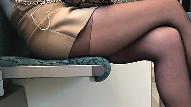 Pantyhose legs in train