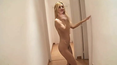 Awesome Thin Young Blonde Dancing Naked in the Hallway