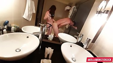 Femdom strapon fuck in bathroom - Deep Pegging his ass and cum on tits