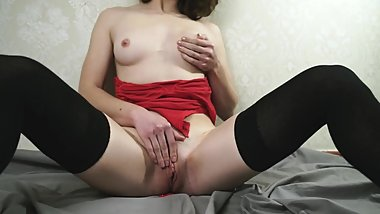 Pretty Brunette With Small Tits Teasing And Rubbing Her Pussy In Red Body